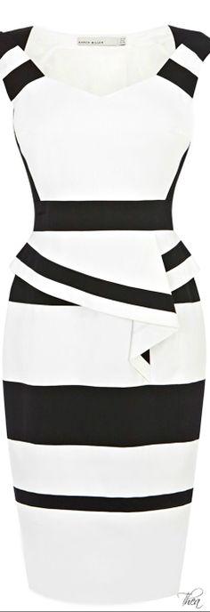 Karen Millen ● Colourblock Cotton Peplum Dress