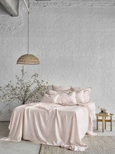 Pure Linen Bed Sheet Set In Peony - Sheets on the Line
