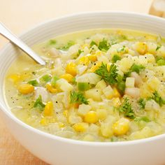 A delicious corn chowder recipe that is delicious.. Hearty Corn Chowder Recipe from Grandmothers Kitchen.