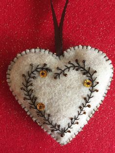 ***Elegant Heart Ornament Felt Decoration*** _____________________________________ These hearts are a unique and surprising hostess gift! Felt Christmas Decorations, Felt Christmas Ornaments, Christmas Crafts, Fabric Ornaments, Diy Ornaments, Christmas Nativity, Beaded Ornaments, Christmas Printables, Homemade Christmas