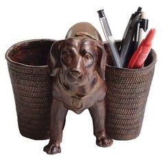 Dog Figurine with Pen/Pencil Cups - 3R Studios