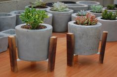 Modern Concrete Planter and Stand by ClineFab on Etsy