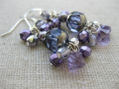 Beaded lavender violet amethyst Swarovski crystals Czech glass silver drop earrings Spring Dressy Wedding Casual  jewelry - pinned by pin4etsy.com