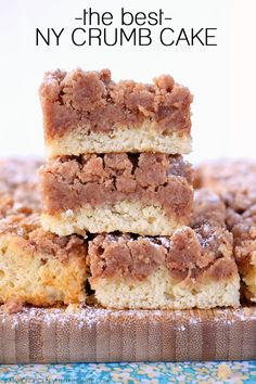 Rich buttery cake topped with a fat layer of irresistible crumbs similar to Entenmann's crumb cake only better, if you ask me because it's homemade.