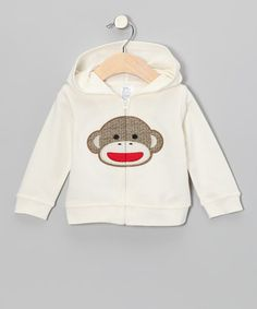Take a look at this White Sock Monkey Terry Zip-Up Hoodie by Baby Starters on #zulily today!