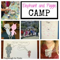"""2-weeks of Mo Willems' """"Elephant and Piggie"""" inspired activities. Includes free printable activity calendar. {Playdough to Plato}"""