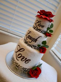 Live Laugh Love Embroidered Towel Cake in Black by LadyFruFru ~ Love It Getting Ideas For The Next One I Make!!!