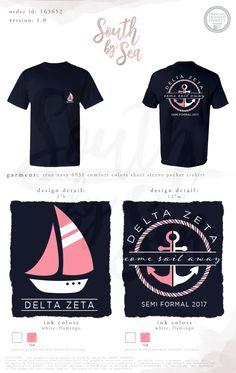 South by Sea Bid Day Shirts, School Shirts, Tee Shirts, Tau Gamma, Delta Gamma, Sorority Shirt Designs, Sorority Shirts, Custom Clothing Design, Custom Clothes