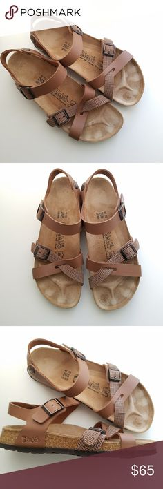 🌿 Birkenstock | Brown Strappy Sandals Euro 41 Gently used and from a smoke free home. Sz Euro 41 Narrow which is a Womens 10 and a mens 8. Birkenstock Shoes