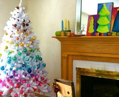 Click Pic - 30 Christmas Tree Decorating Ideas -  White Tree with Bright Baubles - DIY Christmas Decorations
