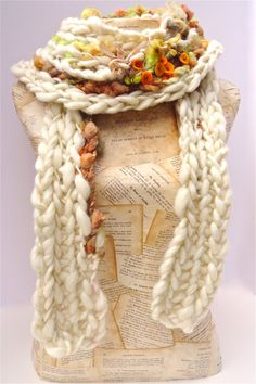 Bittersweet Scarf Hand Crocheted Autumn Scarf Handmade Felt Berries Silk Ribbons Sparkly Tencel. $99.00, via Etsy.