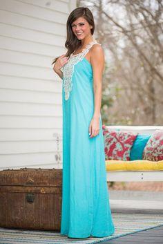 Around The Way Crochet Maxi Dress, Turquoise