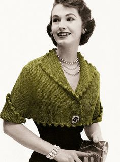 1950s Cropped Metallic Bolero, vintage knitting pattern
