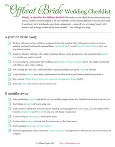 Free Printable Offbeat Bride Wedding Checklist  Offbeat Bride