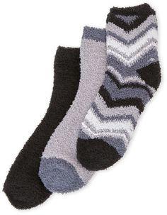 Ellen Tracy 3-Pack Zig Zag Cozy Crew Socks