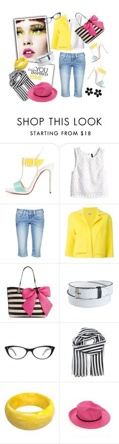 """White, yellow, pink, light blue 130415"" by melaniamar ❤ liked on Polyvore featuring daria, Christian Louboutin, H&M, Pepe Jeans London, P.A.R.O.S.H., Betsey Johnson, Susie in the Sky, Les Pièces Uniques, Dolce&Gabbana and Marc by Marc Jacobs"