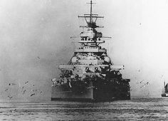 KSM Bismarck  - Bismarck-class battleship41,700 tons - 24 August 1940 - sunk 27 May 1941. In this caption shortly before the ill fated Operation Rhine, May 1941, showing the great beam of the ship.  On the 24th she sank the famous British battlecruiser HMS Hood; on the 27th she went to the bottom of the Atlantic.