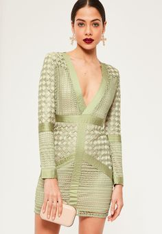 cbdd879d8b1781 Take the plunge and amp up your outfit game wearing this sage green bodycon  dress -
