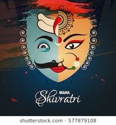 Happy Shivratri, Vector Illustration based on half Lord Shiva and Devi Durga faces, called Ardhanareeshwar on grungy background. Happy Lohri Wallpapers, Arte Shiva, Happy Navratri Images, Photo Art Gallery, Lord Shiva Hd Images, Military Drawings, Shiva Wallpaper, Lord Shiva Painting, Tanjore Painting