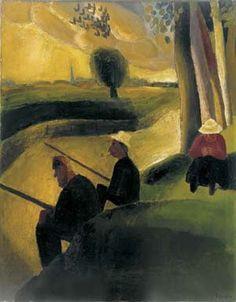 Frits Van den Berghe (Gand 1883 - 1939), Vissers aan de Leie, 1923, huile sur toile, 80x62,5