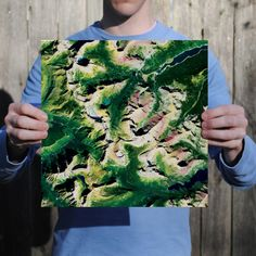 Abstract satellite art print of Glacier National Park.
