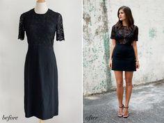 Avant et après: robe en dentelle de bricolage