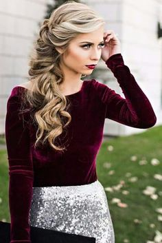 Mulberry long sleeved velvet top, silver sparkly skirt, curly blonde hair