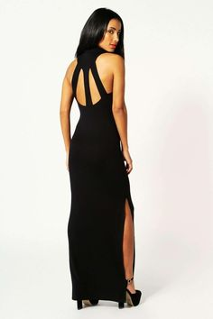 ba0e25dd7a5 Martha Turtle Neck Cut Out Back Detail Maxi Dress at boohoo.com Going Out  Dresses