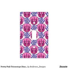 Pretty Pink Triceratops Dinosaur Pattern Switch Plate Covers