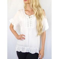 Wholesale Scoop Neck Cut Out Solid Color Peasant Blouse In White   TrendsGal.com