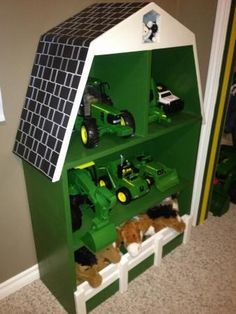 John Deere Green Barn Shelf Do It Yourself Home Projects from Ana White Ikea Design, John Deere Bedroom, John Deere Boys Room, John Deere Nursery, John Deere Toys, John Deere Baby, John Deere Tractors, Green Barn, Toy Rooms