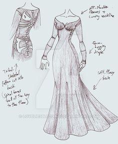 31c52e35efb42 DC - Bones by LoveLiesBleeding2 on DeviantArt Vestido Medieval, Dress  Drawing, Drawing Clothes,