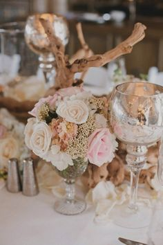 neutral and blush pink centerpiece