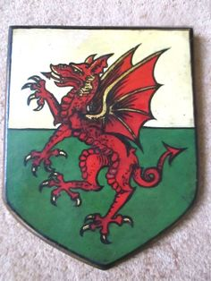 Antique Wood Shield Crest Wall Plaque  Welsh Dragon Wales