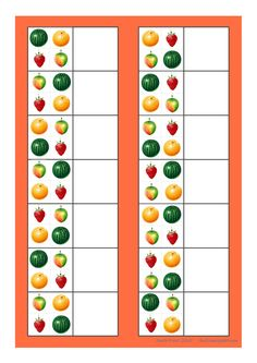 Board for the 4 fruit matching game. Find the belonging tiles on Autismespektrum… Cut And Paste Worksheets, Math For Kids, Matching Games, A Table, Flora, Projects To Try, Concept, Apple, Activities