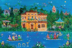 Τον παραμυθένιο, αισιόδοξο μικρόκοσμο της Σοφίας Καλογεροπούλου, εκθέτει σήμερα η καλοκαιρινή Γκαλερί του eirinika - Κάθε πίνακας & ένα μαγικό ραβδί - πινέλο για την τέχνη της εικαστικής απόλαυσης   eirinika.gr Greece Painting, Mediterranean Art, 10 Picture, Greek Art, Artist Art, Art World, Impressionist, Fresco, Landscape Paintings