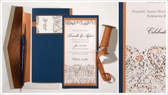 Wedding Stationery Works of Art from Momental Designs. I was angling for periwinkle blue but DAMN this copper and indigo is beeeyoootifull #stationary
