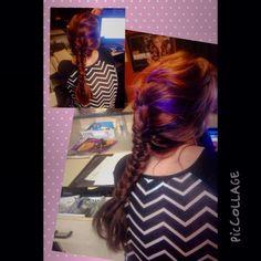 French braid progressing into fish tail braid--purple weaves through