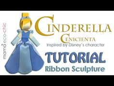 """Ribbon Sculpture tutorial inspired by Disney´s character """"Princess Cinderella"""". These creations are great attached to your hair accessories such as hair clip. Ribbon Hair Clips, Ribbon Bows, Ribbons, Yarn Wig, Kids Hair Clips, Kanzashi, Ribbon Sculpture, Boutique Hair Bows, Diy Bow"""