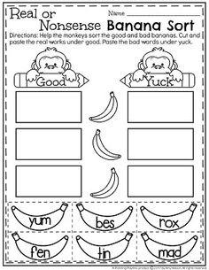Real or Nonsense Words Worksheets - Bad Banana Sort Reading Resources, Reading Activities, Preschool Activities, Community Helpers Kindergarten, Nonsense Words, Reading Practice, Word Sorts, Happy Reading, Kindergarten Reading