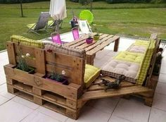 Great idea!! Put flower pot's on back of patio bench table