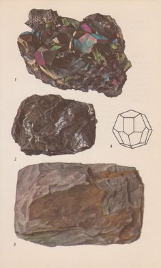 Vintage Print Rocks and Minerals Haematite Crystals by PineandMain. $6.00, via Etsy.
