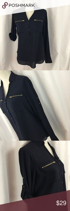 NWT Express szS navy popover top w/gold accents NWT Express szS navy popover top w/gold accents..can be worn with sleeves long or rolled up-see Picts... Express Tops
