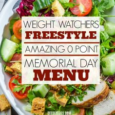 Weight Watchers Freestyle 0 Point Memorial Day Party Menu is loaded with recipes to enjoy while staying on plan for weight loss. Weight Watchers Lunches, Weight Watchers Meal Plans, Weight Watchers Diet, Healthy Menu, Healthy Snacks, Healthy Eating, Healthy Recipes, Healthy Breakfasts, Clean Eating