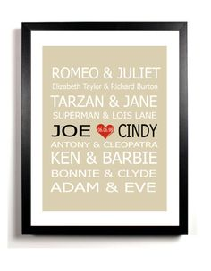 Personalized Couples Gift  Art Print Name  Famous by DIGIArtPrints, $5.50