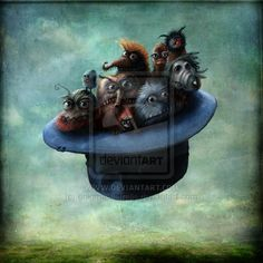 Monsters in a flying hat by AlexanderJansson (print image)