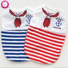 New Design Pet Dog Vests Navy Stripe Cheap Cotton Puppy Brand T Shirts Dog Summer Clothes For Teddy Chihuahua XS-XL
