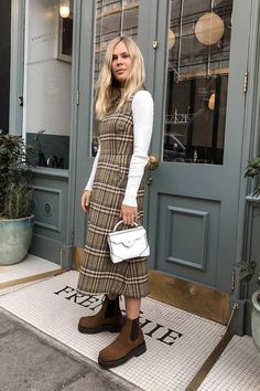 Layering dresses: Jessie Bush wearing a checked shift with a white roll-neck Cute Fashion, Fashion Outfits, Womens Fashion, Fashion Tips, Fashion Trends, Fashion Ideas, Fashion Hacks, Dress Fashion, Fashion Inspiration