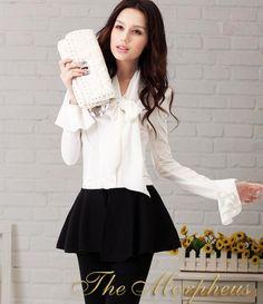 Morpheus Boutique  - Designer Trendy Lady Ruffle Sleeve Bowknot Collar Shirt
