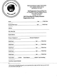 free printable family reunion registration form templates